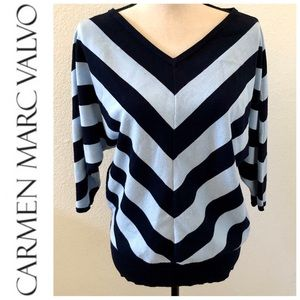 Carmen Marc Valvo Pullover V-Neck Sweater
